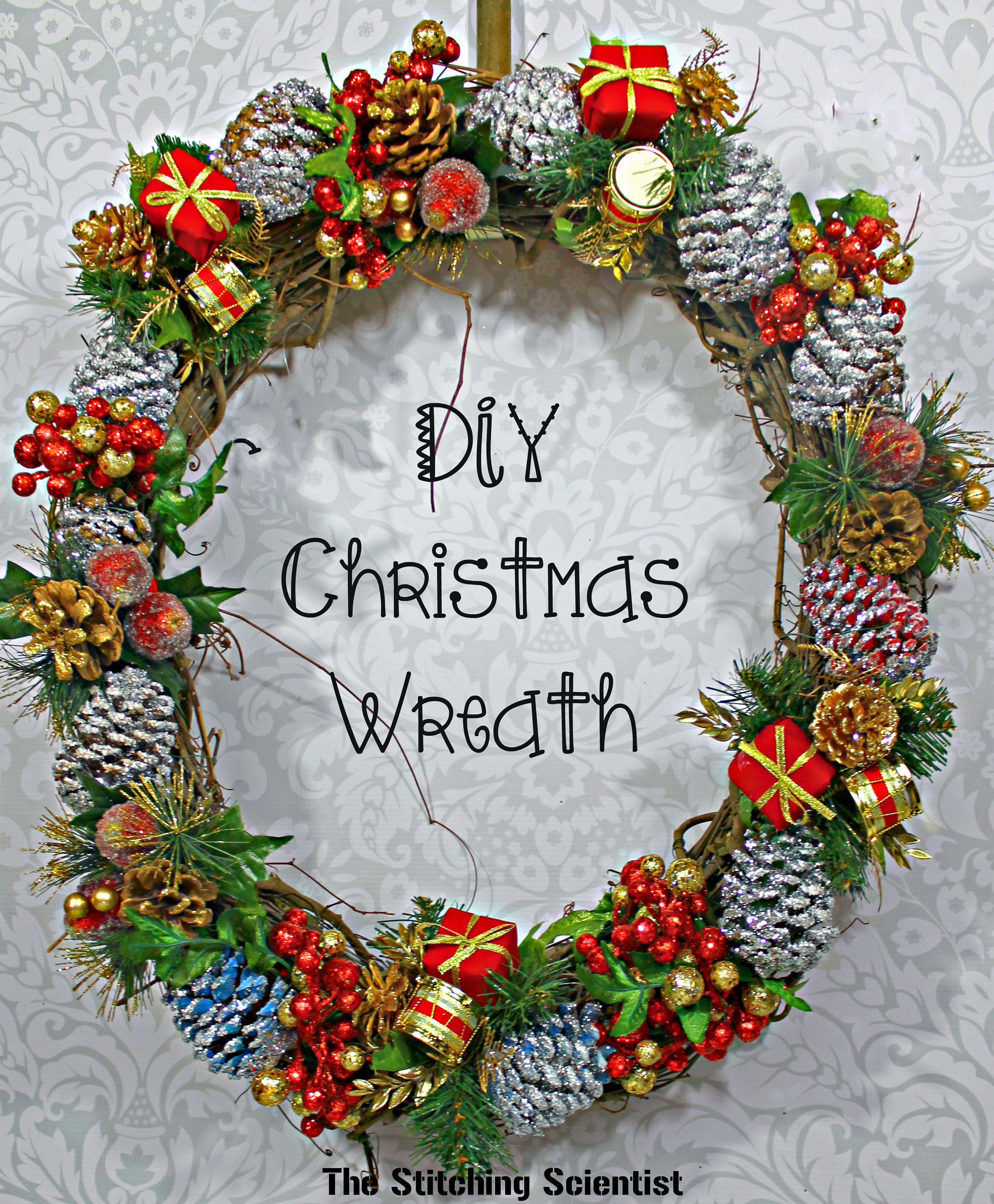 Diy Glitter Pine Cone Wreath The Stitching Scientist