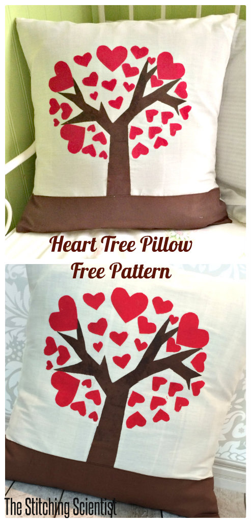 Heart Tree Pillow with Free Pattern