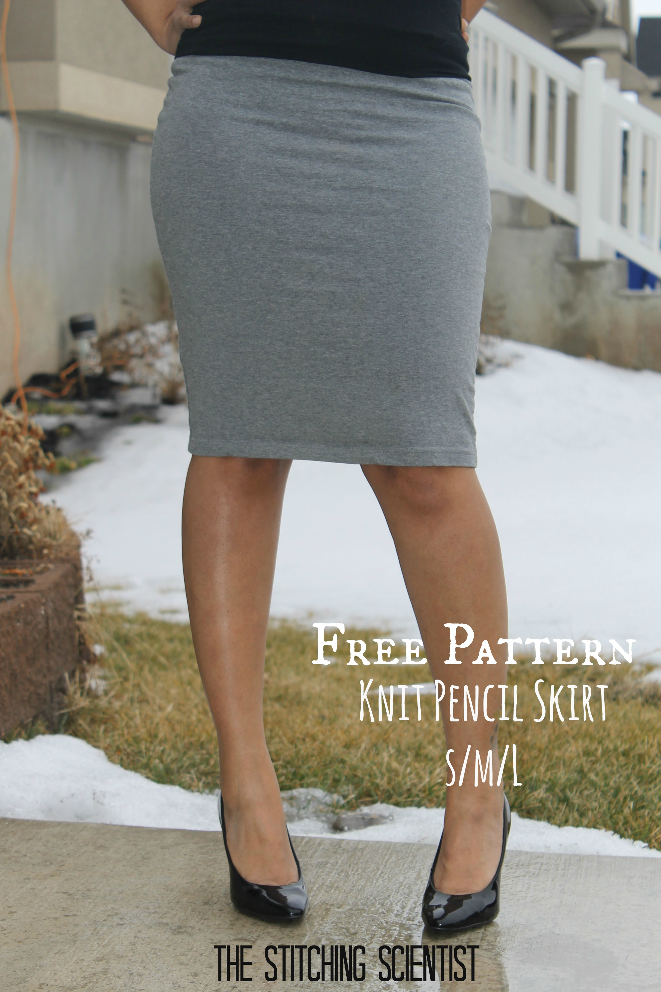 Free Skirt Patterns-Sexy Knit Pencil Skirt The Stitching Scientist