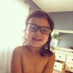 My mini me trying out my glasses! #minime #withmyglasses #mydaughter…