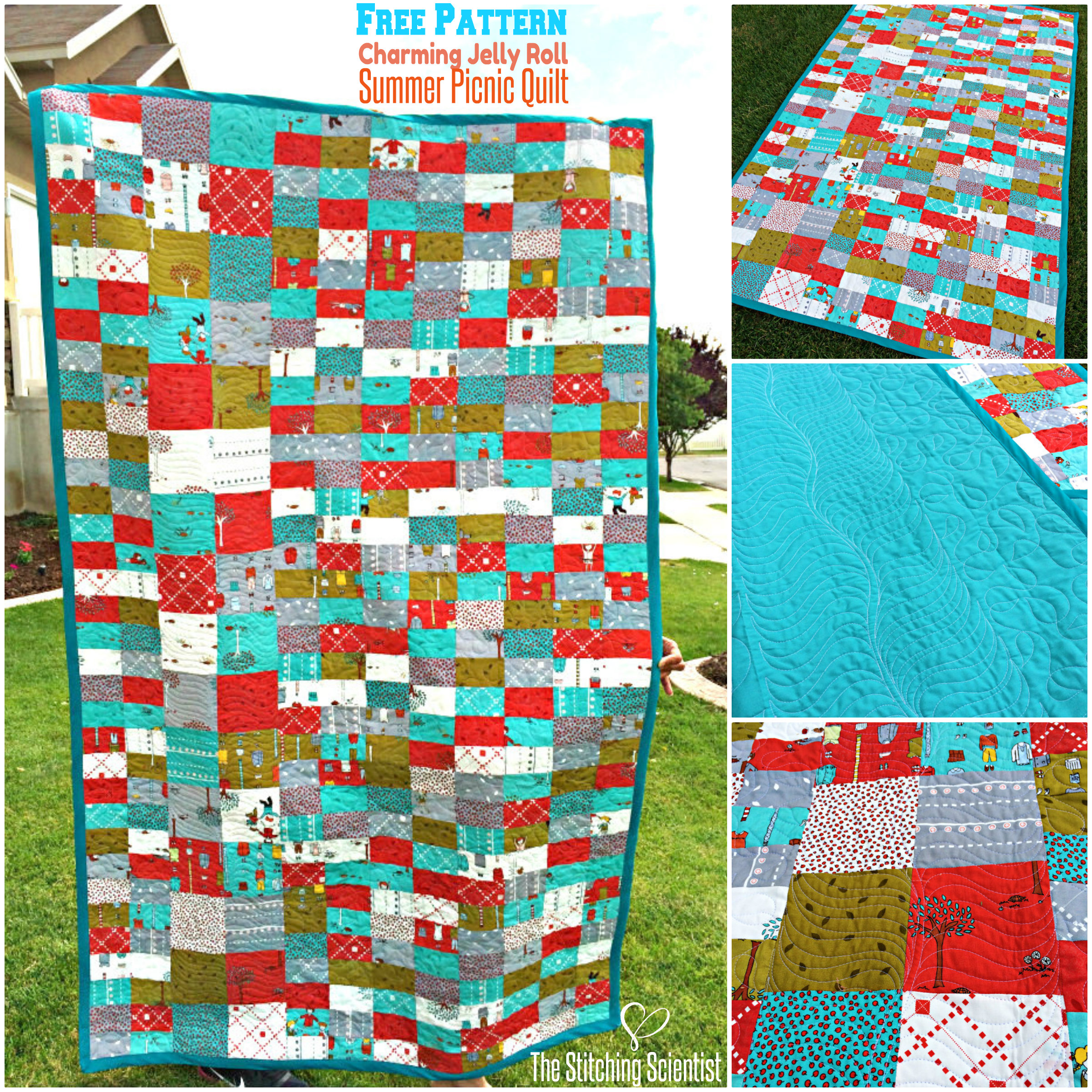 Charming Jelly Roll Summer Picnic Quilt with Free Pattern