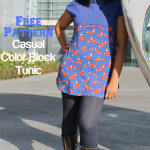 Free Pattern Casual Color Block Tunic