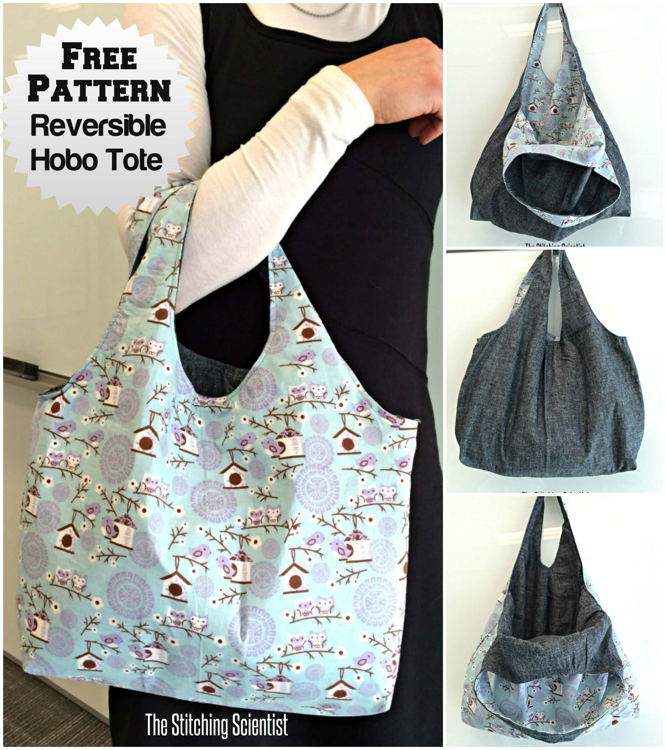 Reversible Hobo Beginner Bag Pattern | Free Sewing Patterns
