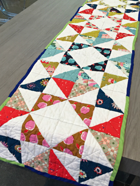For This Table Runner, I Actually Just Did The Quilting Myself On My  Machine. I Did Triangles All Over Which Turned Out Pretty Decent In My  Opinion.
