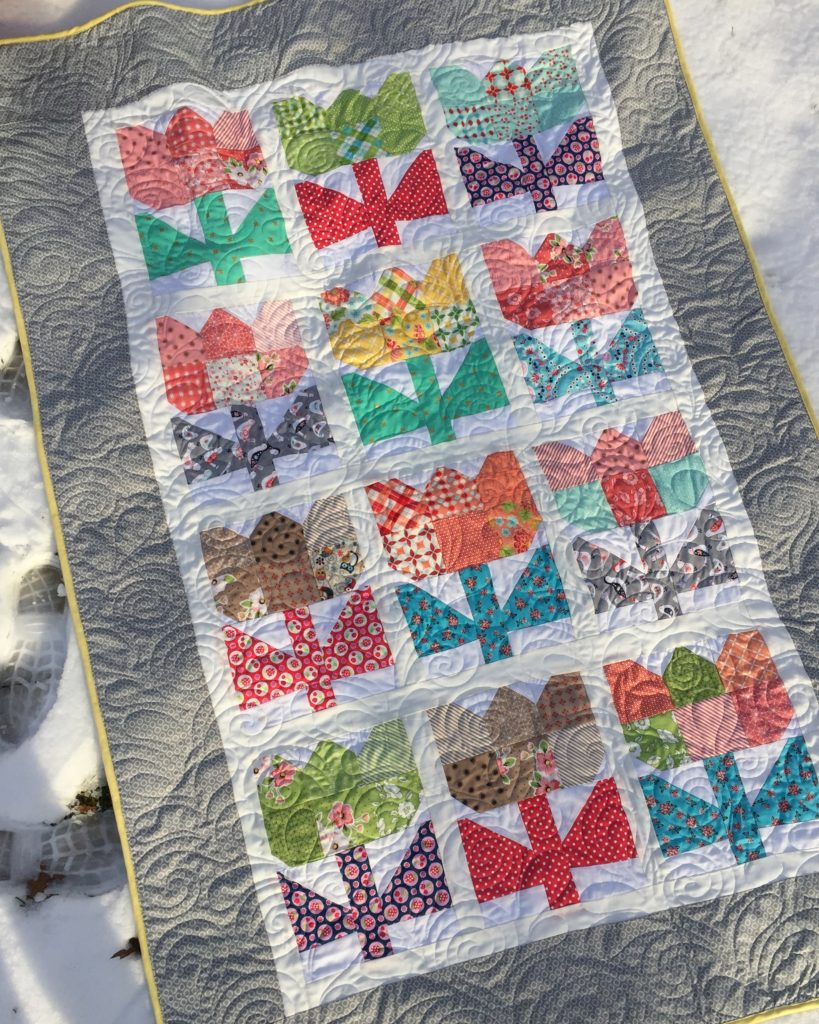 Patchwork Tulip Quilt on ground